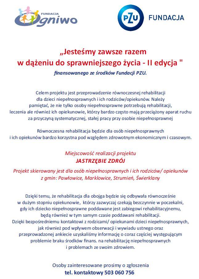 II edycja projektu finansowanego ze środków Fundacji PZU